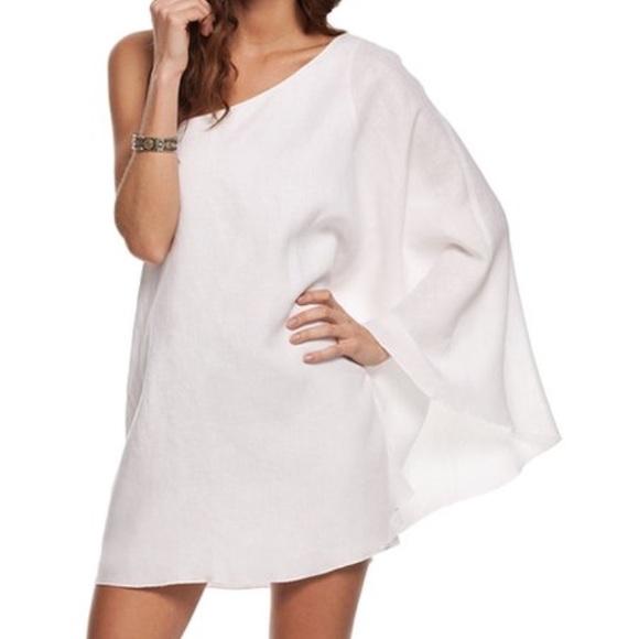 5279de8ef Island Company Dresses & Skirts - Women's white linen one shoulder dress